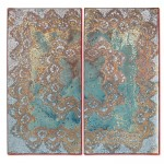 Beautiful Covered 1, Diptychon, 2014, Acrylic, silver & gold leaf on canvas, 60 x 60 cm